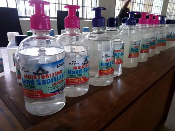 Federal College of Education Obudu produces its own branded alcoholic based hand sanitizer.