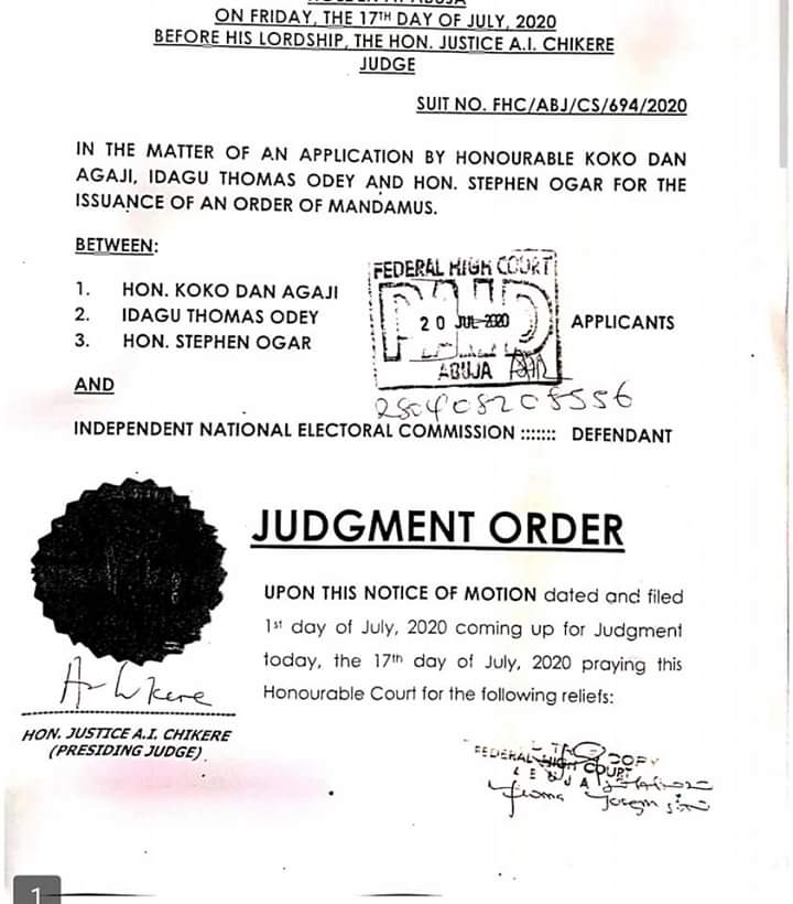Breaking: Federal high court orders INEC to conduct bye-election in C'River North Senatorial district