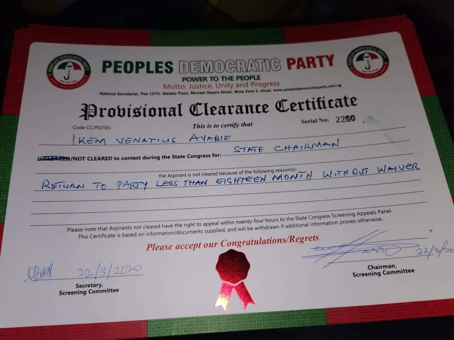 CONGRESS 2020: Vena Ikem Was Disqualified To Contest For PDP State Chairman Of C'River